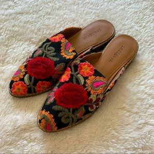 Indigo rd floral embroidered slides mules flats